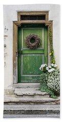 Rustic Wooden Village Door - Austria Bath Towel