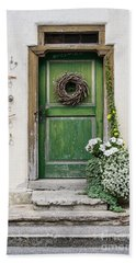 Rustic Wooden Village Door - Austria Hand Towel