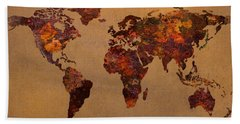 Rusty Vintage World Map On Old Metal Sheet Wall Hand Towel