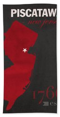 Rutgers University Scarlet Knights Piscataway Nj College Town State Map Poster Series No 092 Bath Towel
