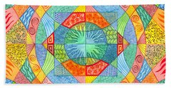 Bath Towel featuring the mixed media Sacred Geometry by Kristen Fox