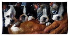 Safe In The Arms Of Love - Puppy Art Bath Towel by Jordan Blackstone