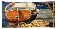 Hand Towel featuring the painting Safe Mooring by Roger Rockefeller