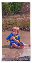 Safety Is Important - Toddler In Mudpuddle Art Prints Bath Towel