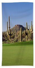 Saguaro Cacti In A Golf Course, Troon Hand Towel