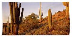 Saguaro Cactus On Hillside Bath Towel