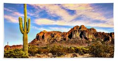 Saguaro Superstition Mountains Arizona Hand Towel by Bob and Nadine Johnston