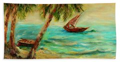 Sail Boats On Indian Ocean  Bath Towel by Sher Nasser