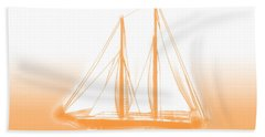 Sailboat Background Orange Hand Towel by Methune Hively
