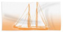 Sailboat Background Orange Bath Towel by Methune Hively