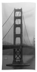 Sailboat Passing Under Golden Gate Bridge Hand Towel