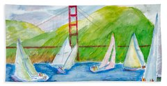 Sailboat Race At The Golden Gate Hand Towel
