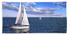 Sailboats At Sea Bath Towel by Elena Elisseeva