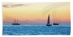 Sailboats At Sunset Off Key West Florida Bath Towel by Photographic Arts And Design Studio