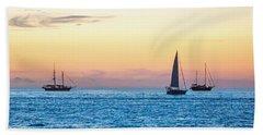Sailboats At Sunset Off Key West Florida Bath Towel