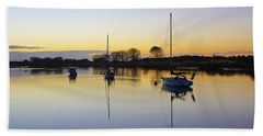 Sailboats In Whakatane At Sunset Bath Towel by Venetia Featherstone-Witty