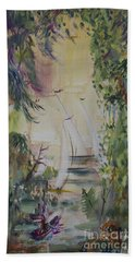 Sailboats Through The Trees Bath Towel