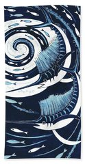 Sailfish, 2013 Woodcut Hand Towel