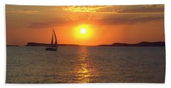 Sailing Boat In Ibiza Sunset Bath Towel