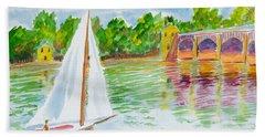 Sailing By The Bridge Hand Towel