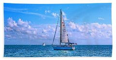 Sailing Off Of Key Largo Hand Towel