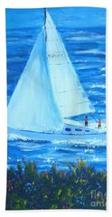 Sailing Off The Coast Hand Towel