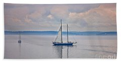 Sailing On A Misty Morning Art Prints Hand Towel by Valerie Garner