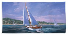 Sailing On Monterey Bay Hand Towel