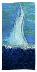 Sailing On The Blue Hand Towel by Dick Bourgault