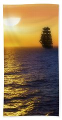 Sailing Out Of The Fog At Sunrise Bath Towel