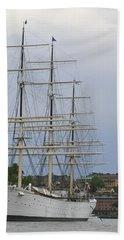Sailing Ship In Harbor Hand Towel
