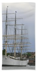 Sailing Ship In Harbor Bath Towel