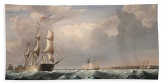 Sailing Ships Off The New England Coast Hand Towel
