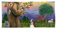 Saint Francis Blesses A Beagle Hand Towel