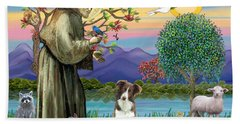 Saint Francis Blesses A Brown And White Border Collie Bath Towel