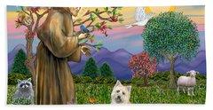 Saint Francis Blesses A Cairn Terrier Hand Towel