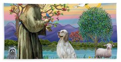 Saint Francis Blesses An English Setter Hand Towel