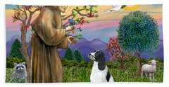 Saint Francis Blesses An English Springer Spaniel Hand Towel