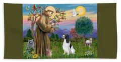 Saint Francis Blesses An English Springer Spaniel Hand Towel