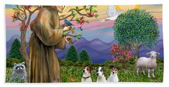 Saint Francis Blesses Three Jack Russell Terriers Hand Towel