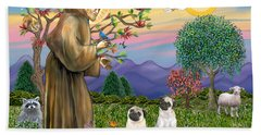 Saint Francis Blesses Two Fawn Pugs Hand Towel