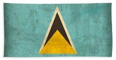 Saint Lucia Flag Vintage Distressed Finish Bath Towel
