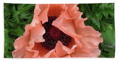 Hand Towel featuring the photograph Salmon Colored Poppy by Barbara Griffin