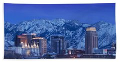 Salt Lake City Skyline Bath Towel