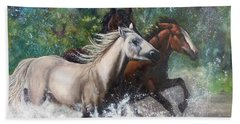 Hand Towel featuring the painting Salt River Horseplay by Karen Kennedy Chatham