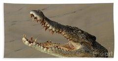 Salt Water Crocodile 1 Hand Towel by Bob Christopher