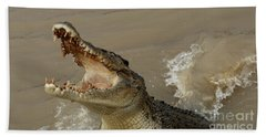 Salt Water Crocodile 2 Hand Towel by Bob Christopher