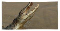 Salt Water Crocodile Australia Hand Towel by Bob Christopher