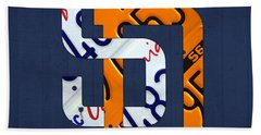 San Diego Padres Baseball Team Vintage Logo Recycled California License Plate Art Hand Towel