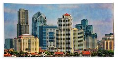 Hand Towel featuring the photograph San Diego Skyline by Peggy Hughes